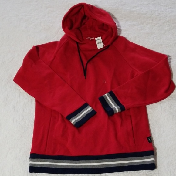 Express Other - NWT Mens Express Red Hoodie Cuffed Sweatshirt Sz L
